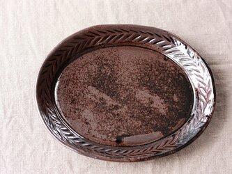 リーフ模様だえん皿(大/黒)の画像