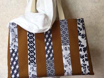 浴衣反物(新品)と帆布のバック 綿 ストライプの画像