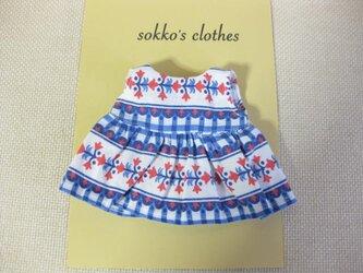 sokko's Dress  白地にピンクとブルー柄のワンピーススカートの画像