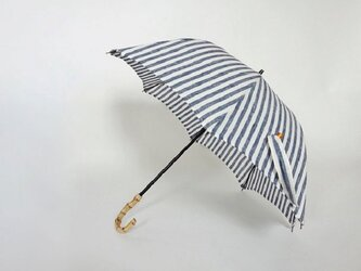 バンブー持ち手リネン日傘2段階調節<ストライプブルー>の画像