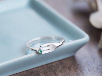 emerald ミニチュア フォーク リング シルバー925の画像