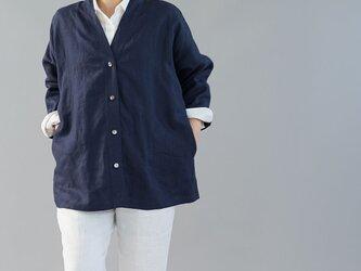 【wafu】中厚 リネン カーディガン ドルマンスリーブ 羽織 ドロップショルダー / ネイビー h042a-neb2の画像