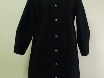 丸衿長袖コート(裏地無し)S~Mサイズ リバティタナローン 黒 綿素材  受注生産の画像
