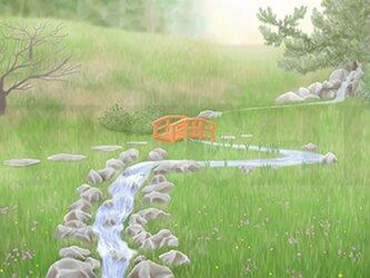 フルスクリーンB5ポスター「緑の庭園」(額装済み)の画像