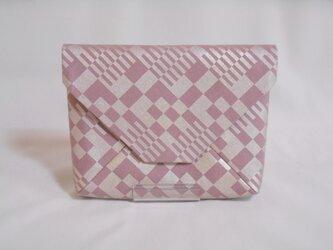 #数寄屋袋 #クラッチバッグ 綿製 洗い加工キャンバス スモーキーピンク色 #市松 銀彩の画像