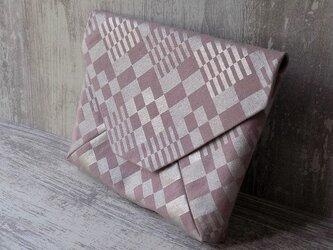 数寄屋袋 クラッチバッグ 洗い加工キャンバススモーキーピンク色製 市松 銀彩の画像