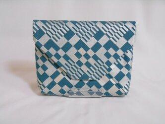 #数寄屋袋 #クラッチバッグ 綿製 洗い加工キャンバス ターコイズ色 #市松 銀彩の画像