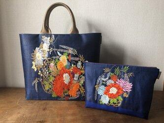 帯バッグ 花籠文様名古屋帯リメイクバッグ&ポーチセットの画像