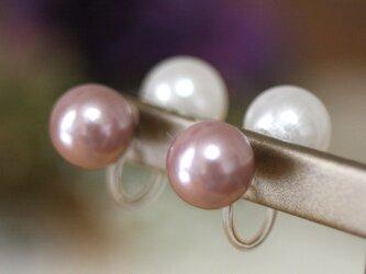 卒業式/入学式*2wayWfaceパールノンホールピアス 白・ピンク 卒園式 入園式 ウエディング 結婚式 真珠 ブライダルの画像