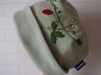 コットン素材スパンフライスニット生地で作ったニット帽(ワイルドストロベリー)の画像