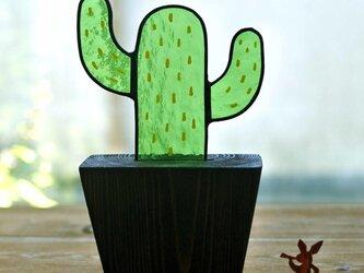 ステンドグラスのサボテン  ステイン仕上げ メキシコサボテンの画像