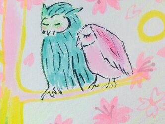 原画のい And  Others 46 (桜とハッピーフクロウ  Happy Owl)の画像
