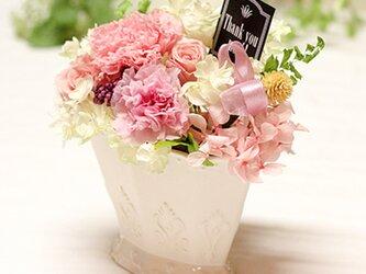 ピンクのカーネーションとローズのアレンジ カーネーション プリザーブドフラワー 花の画像