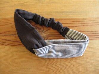 ねじりヘアバンド ストライプ、チャコールグレーの画像