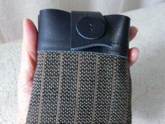 牛革コンビ 手織りポーチ<濃紺>の画像