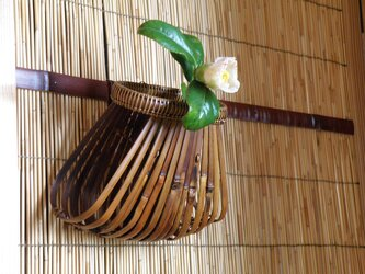 扇掛け花籠 根曲り竹 煤竹 鳳尾竹の画像