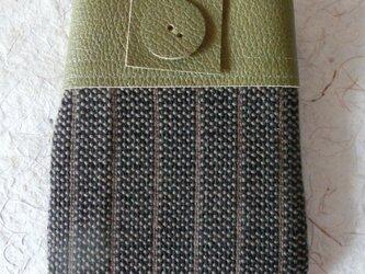 牛革コンビ 手織りポーチ<草色>の画像