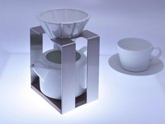 コーヒードリッパー・サーバー・白 (磁器・ステンレス・木の組み合わせが美しいデザイン)の画像