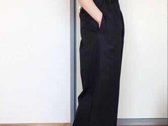 コットンワイドパンツ9分丈 ブラックの画像