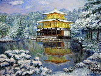 初雪の金閣寺寺の画像