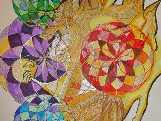 【売約済み】Divine Geometry with Doragon 龍神さまとチャクラの花の画像