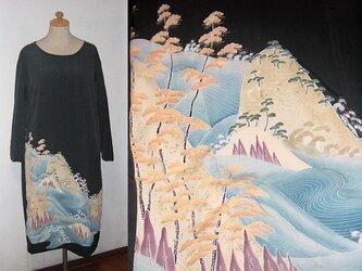留袖リメイク♪波が素敵な留袖ワンピース♪♪ハンドメイド♪正絹・フォーマル・結婚式・旅行・観劇の画像