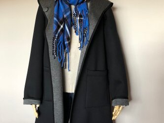yumi様専用 ダンボールニット リバーシブルコート 黒×グレイ 受注製作の画像