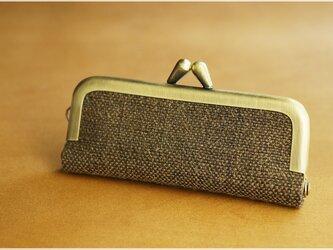 ■手紡ぎ、手織りシルク・リネンのがま口印鑑ケース / n■ hanko case (gmi-n)の画像