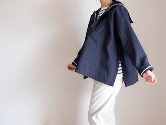 ◆ sale ◆ セーラー - ヘビーオンス・ドビー織りダブルクロス・コットン・ネイビー -  <受注制作>の画像