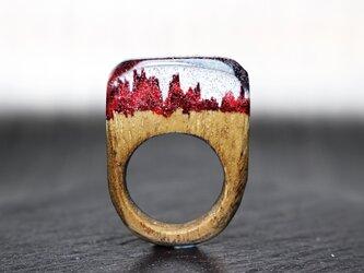 【送料無料Sale45%off】Deep Red~Resin Wood Ring~の画像