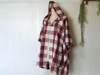 華やかチェック 五分袖 ポンチョ ~ コート ジャケット の画像