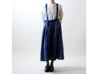 フレンチストライプリネン・サスペンダースカート/ネイビーの画像