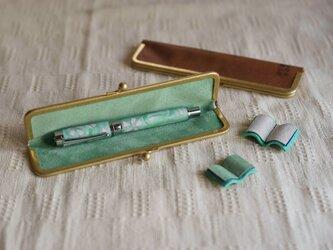 真鍮使いの口金ペンケース(1本用)/キャメル×リーフグリーンの画像