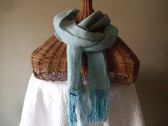 麻と木綿の手織りのショールの画像