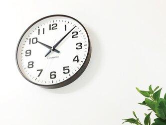 KATOMOKU plywood wall clock 15 km-92BRC ブラウン 電波時計 連続秒針 大きい時計の画像