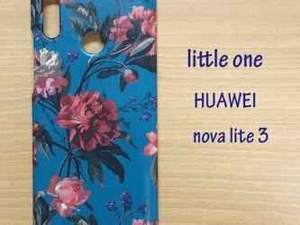 【リバティ生地】デカダント・ブルームス縮小版ブルー vHUAWEI nova lite3の画像