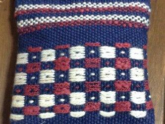 手織り かの子模様のミニポーチの画像