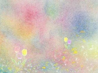 「こんにちは^^チューリップ」 ほっこり癒しのイラストポストカード2枚組No.743の画像