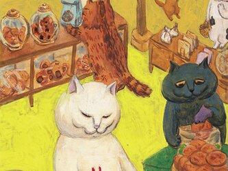 カマノレイコ オリジナル猫ポストカード「おせんべい屋さん」2枚セットの画像