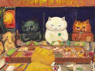 カマノレイコ オリジナル猫ポストカード「おでん屋さん」2枚セットの画像