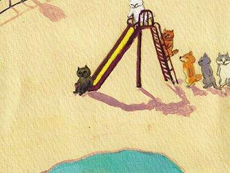 カマノレイコ オリジナル猫ポストカード「すべり台」2枚セットの画像