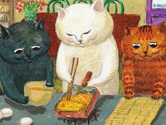カマノレイコ オリジナル猫ポストカード「たまご焼き」2枚セットの画像