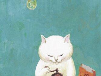 カマノレイコ オリジナル猫ポストカード「豆を挽く」2枚セットの画像