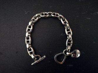アンカーチェーンブレスレット マリン+ビーンのデザイン シルバー チャーム付ブレスレット オリジナル留め具 Tバータイプの画像