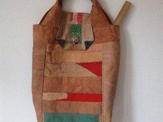 細長柿渋染め大漁旗の蓋つきトートバック 木綿の画像