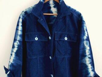 ◆100%自然素材 天然灰汁発酵建て 本藍染◆ スプリングワークジャケットの画像