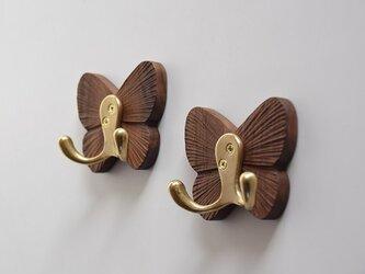 受注生産 職人手作り ウォールラック フック ウォールナット モダン 北欧 木工 ダークブラウン 木目 天然木 木製雑貨の画像