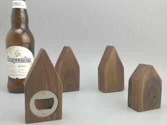 受注生産 職人手作り 栓抜き ウォールナット おしゃれ 雑貨 木工 木製 木目 ダークブラウン 家具 木工 木製雑貨の画像