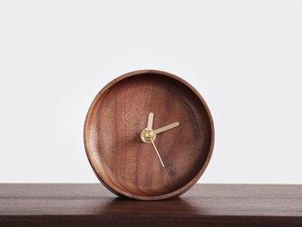受注生産 職人手作り 置き時計 起き時計 おしゃれ ウォールナット シンプル 木工 木製 木目 家具 デスク雑貨 雑貨の画像