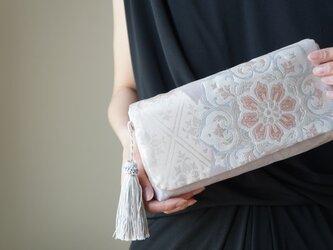 西陣織 2way帯クラッチバッグ& ハンドバック 絹帯 リメイク 藤色 結婚式やパーティー、日常使いにも。の画像